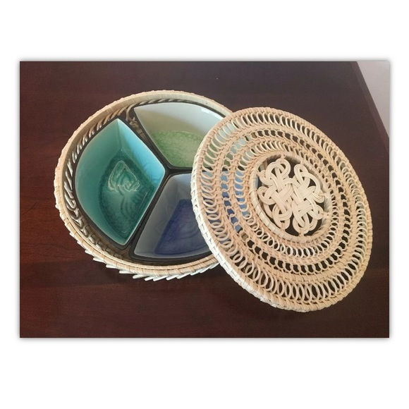 Other - Serving Dish w/ Wicker Basket/Lid Sea Tones